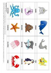 Sea Animal flashcards 4 & Game
