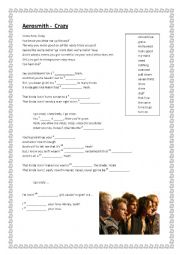 English Worksheet: The Aerosmith - Crazy