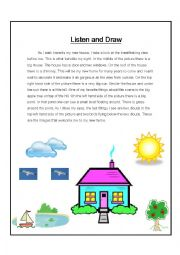 English Worksheet: Listen and Draw (Intermediate)