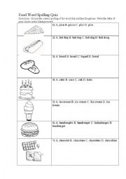 English Worksheet: Food Word Spelling Quiz