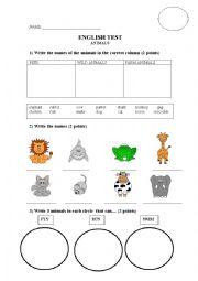 English Worksheet: Animals test