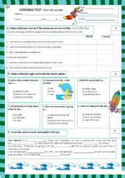 English Worksheet: listening test - Save the oceans (12.06.13)
