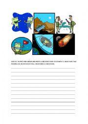 English Worksheet: CRETIVE STORY WRITING - ALIENS