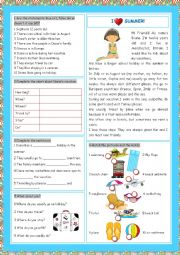 English Worksheet: Vacation (I Love Summer!)