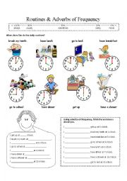 English Worksheet: Routines, time and adverbs of frequency