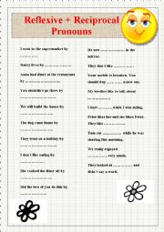english worksheets reflexive and reciprocal pronouns. Black Bedroom Furniture Sets. Home Design Ideas