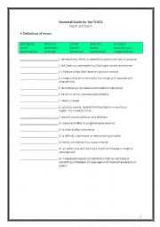 English Worksheet: ETS Essential Guide for the TOEFL Vocabulary Day 5-6