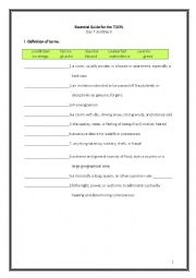 English Worksheet: ETS Essential Guide for the TOEFL Vocabulary Day 7-8