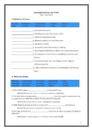 English Worksheet: ETS Essential Guide for the TOEFL Vocabulary Day 1-2