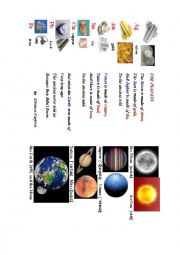 English Worksheet: The Planets (a short poem + a pictionary+ questions to discuss)