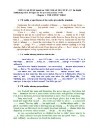 English Worksheet: GRAMMAR TEST (tenses, articles, prepositions) with a KEY