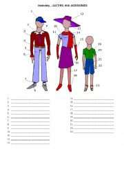 English Worksheet: CLOTHES AND ACCESSORIES