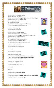 English Worksheet: Song: ´93 MILLION MILES´ by Jason Mraz