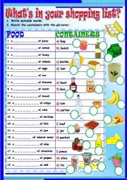 English Worksheet: What�s in your shopping list?