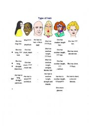 English Worksheet: Describing somebody�s hair