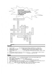 English Worksheet: Crossword on adjectives ending in -ible;-y; -ious