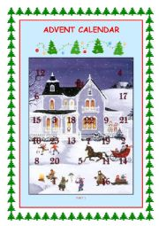 English Worksheet: Advent Calendar Part 1