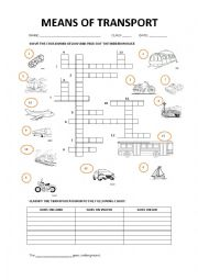 MEANS OF TRANSPORT CROSSWORD