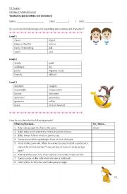 English Worksheet: Personalities and Characters (describing people)