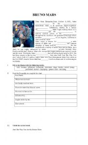 English Worksheet: Reading and Listening about Bruno Mars