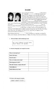 English Worksheet: Reading and Listening about Oasis