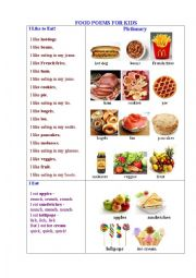 English Worksheet: FOOD POEMS