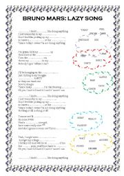 English Worksheet: lazy song, by bruno mars