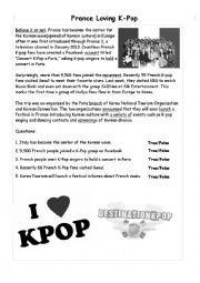 English Worksheet: France�s love for the Korean Wave-  Reading Comprehension