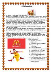 English Worksheet: History of Mc Donalds