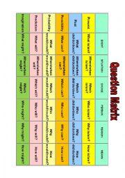 English Worksheet: Question Matrix