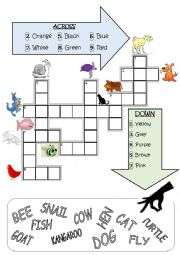 2. Crosswords (animals and colours)