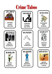 English Worksheet: Crime Taboo 1/2