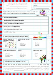 English Worksheet: listening test - what a busy weekend (03.06.13)