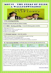 English Worksheet: MOVIE- THE PERKS OF BEING A WALL FLOWER (2012)