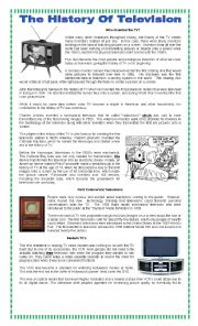 English Worksheet: The history of Tv
