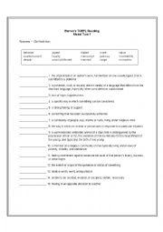 English Worksheet: BARRON�S TOEFL Reading Vocabulary Model Test 1