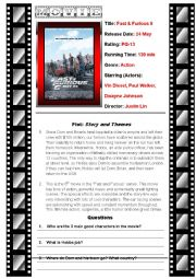 English worksheet: Movie Fast and Furious 6