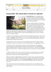 Exam: Comment Writing on Summerhill School