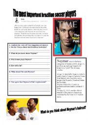 English Worksheet: Brazilian Soccer players Neymar and Pele