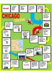 English Worksheet: Chicago Trivia Board Game