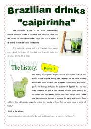 English Worksheet: BRAZIL - THE CAIPIRINHA HISTORY - part 1