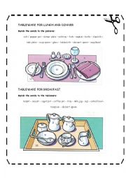 English Worksheet: Tableware for breakfast,lunch and dinner