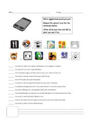English Worksheet: Cool Apps on your ipod or iphone!
