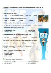 Worksheet on the Movie - Ice Age 2 - The Meltdown ( WITH ANSWERS)