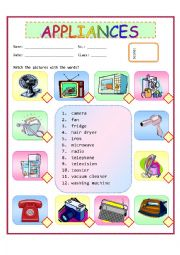 English Worksheet: Appliance
