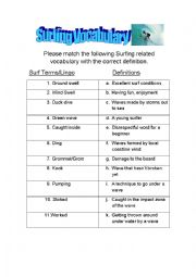 English Worksheet: Surfing Vocabulary Definition Matching