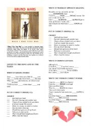 English Worksheet: BRUNO MARS �WHEN I WAS YOUR MAN�