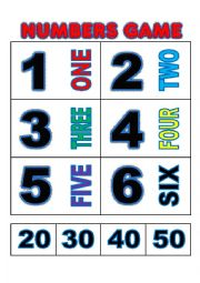 Numbers game flashcards