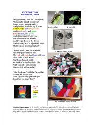 English Worksheet: Socks Sorting (a poem)