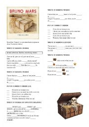 English Worksheet: BRUNO MARS  �TREASURE�
